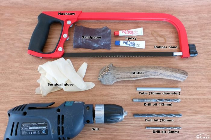 Tools and materials used to make a bear horn