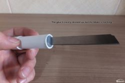 Lip balm knife with long blade.