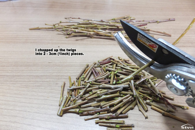 I chopped up the twigs into 2 - 3cm (1inch) pieces.