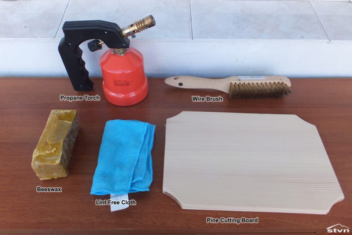Tools and Materials to make a Shou Sugi Ban Cutting Board