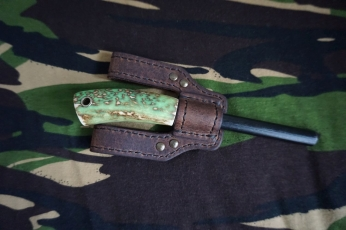 Giant Ferro Rod with Glow in the Dark Antler Handle and Leather Sheath