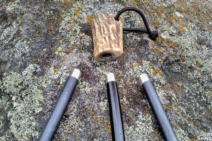Antler Handle with Replaceable Firesteel