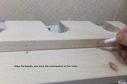 Align the boards, and mark the continuation of the holes.