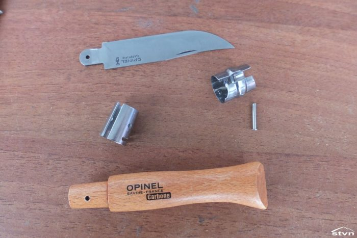 Disassembled Opinel No. 9 Carbone